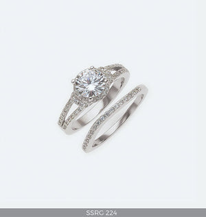 Silver Wedding Ring Set Large Round Cubic Zirconia Solitaire in Double Band with Eternity Band