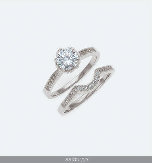 Silver Wedding Ring set with Cubic Zirconia