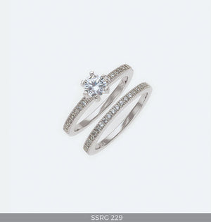Silver Wedding Bridal Ring Set with Cubic Zirconia