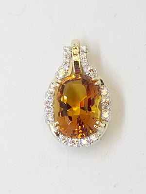Citreen and Diamond Gold Pendant