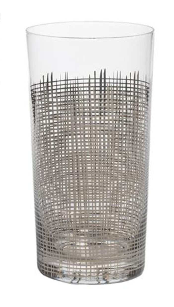 Highball Crosshatch Glass