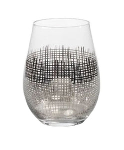 Cross Hatch Stemless Wine Glass