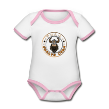 Load image into Gallery viewer, Organic Contrast Short Sleeve Baby Bodysuit - white/pink