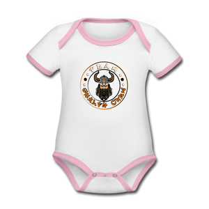 Organic Contrast Short Sleeve Baby Bodysuit - white/pink