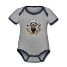 Load image into Gallery viewer, Organic Contrast Short Sleeve Baby Bodysuit - heather gray/navy