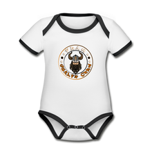 Load image into Gallery viewer, Organic Contrast Short Sleeve Baby Bodysuit - white/black