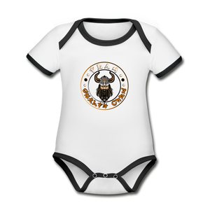 Organic Contrast Short Sleeve Baby Bodysuit - white/black