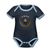 Load image into Gallery viewer, Organic Contrast Short Sleeve Baby Bodysuit - navy/sky