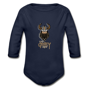 Organic Long Sleeve Baby Bodysuit - dark navy