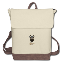 Load image into Gallery viewer, Canvas Backpack - ivory/brown