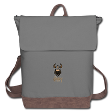 Load image into Gallery viewer, Canvas Backpack - gray/brown