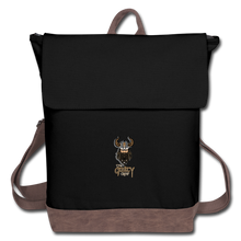Load image into Gallery viewer, Canvas Backpack - black/brown