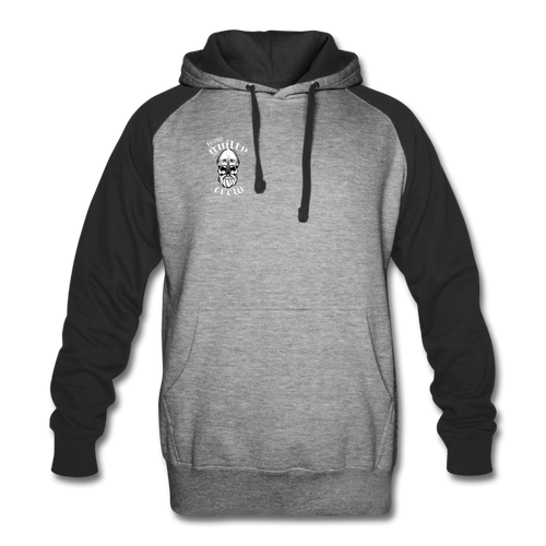 Colorblock Hoodie viking skull - heather gray/black
