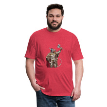 Load image into Gallery viewer, Home Gym Guilty Viking Rat Fitted Cotton/Poly T-Shirt by Next Level - heather red