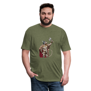Home Gym Guilty Viking Rat Fitted Cotton/Poly T-Shirt by Next Level - heather military green