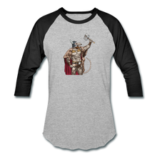 Load image into Gallery viewer, Home Gym Guilty Viking Rat Baseball T-Shirt - heather gray/black