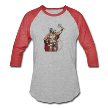 Load image into Gallery viewer, Home Gym Guilty Viking Rat Baseball T-Shirt - heather gray/red