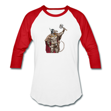 Load image into Gallery viewer, Home Gym Guilty Viking Rat Baseball T-Shirt - white/red
