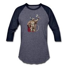 Load image into Gallery viewer, Home Gym Guilty Viking Rat Baseball T-Shirt - heather blue/navy