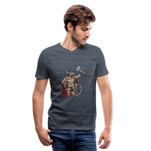 Load image into Gallery viewer, Home Gym Guilty Viking Rat Men's V-Neck T-Shirt - heather navy