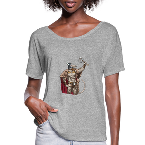 Home Gym Guilty Viking Rat Women's Flowy T-Shirt - heather gray