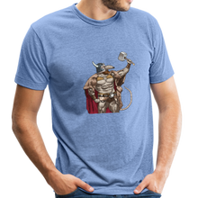 Load image into Gallery viewer, Home Gym Guilty Viking Rat Unisex Tri-Blend T-Shirt - heather Blue