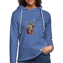 Load image into Gallery viewer, Home Gym Guilty Viking Rat Unisex Lightweight Terry Hoodie - heather Blue