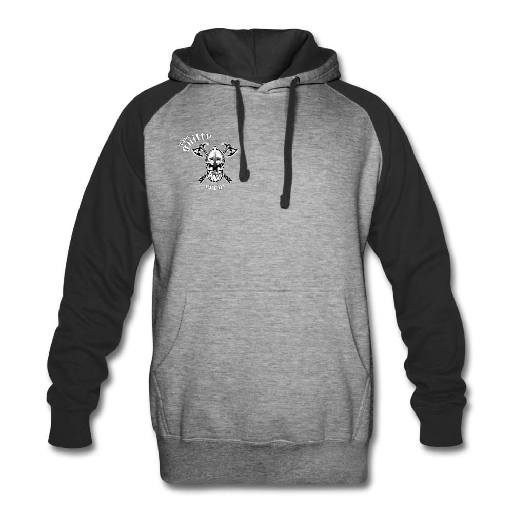 Colorblock Hoodie axe skull - heather gray/black