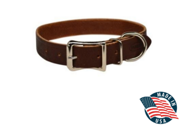 "Warner Brand Cumberland Leather Dog Collar (3/4"" Width) 