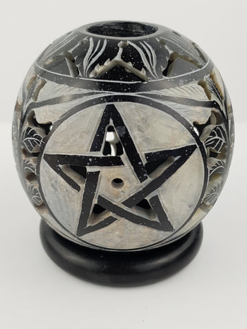 "Candle Holder:IH PENTA 3.5"" Candle Ball Carved Black Stone - The KO Shop Australia New Age Productd"