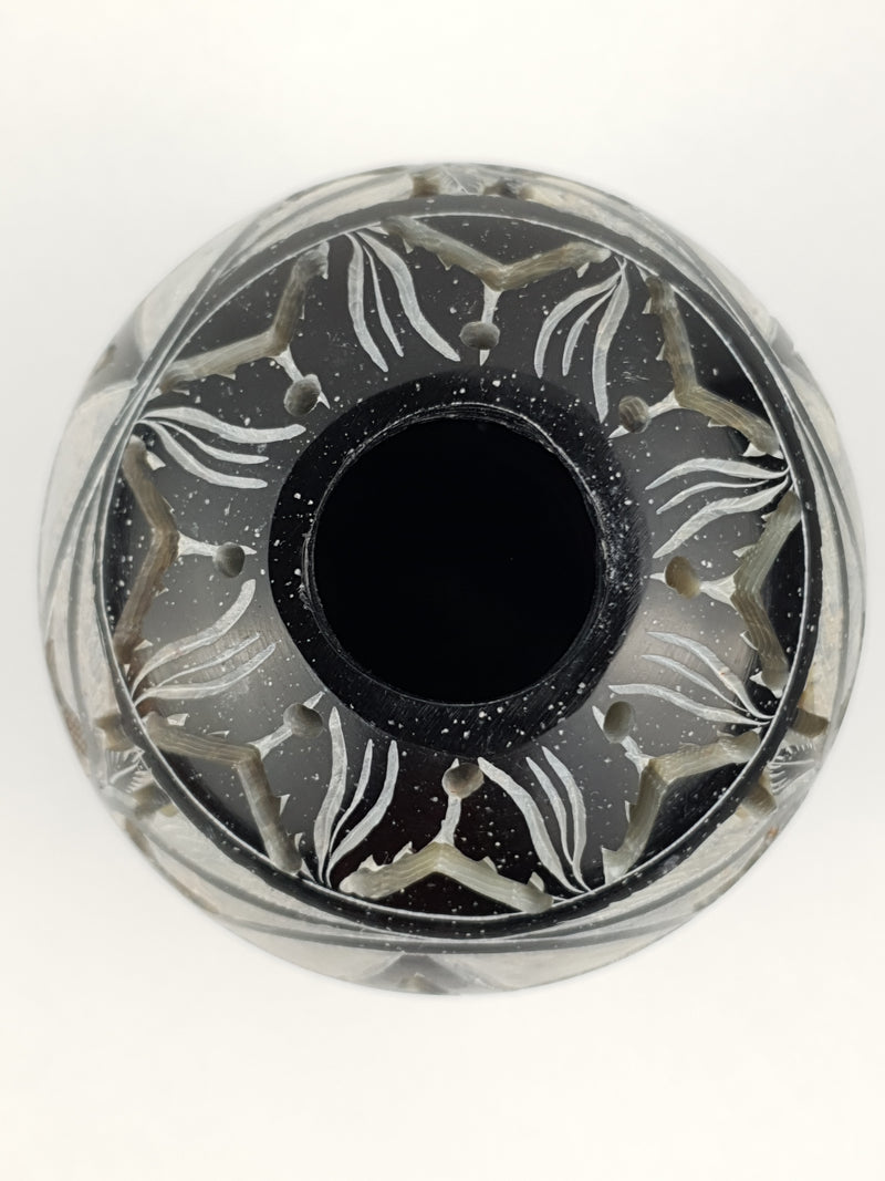"Candle Holder:IH PENTA 3.5"" Candle Ball Carved Black Stone - The KO Shop Australia Wholesale Suppliers Distributors of New Age Products & Natural Incense"