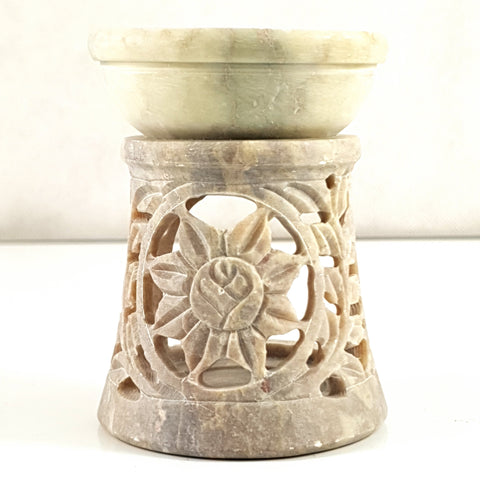 "Oil burner:IH Aroma Lamp 2.5"" Carved Jali, Soapstone -  E - The KO Shop Australia Pty Ltd"