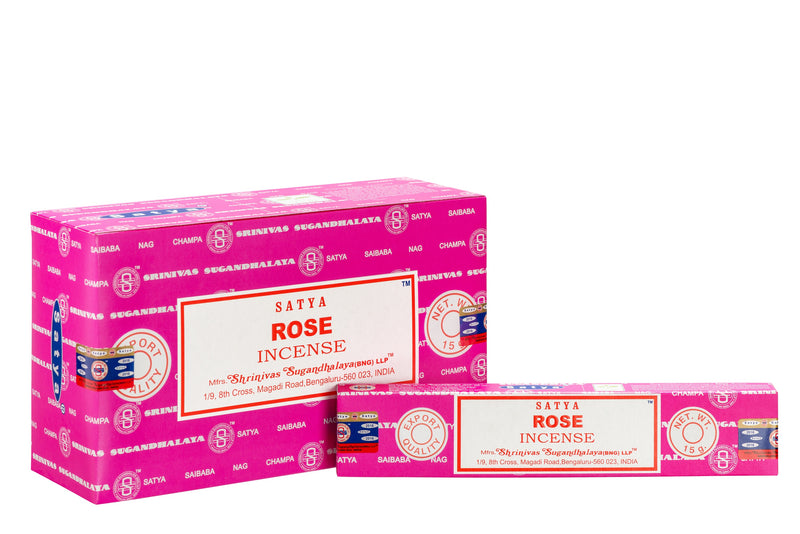 SATYA ROSE INCENSE 15 g x12 - The KO Shop Australia Wholesale Suppliers Distributors of New Age Products & Natural Incense
