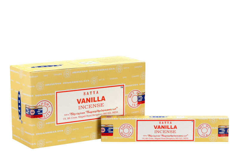 SATYA VANILLA INCENSE 15 g x 12 - The KO Shop Australia Wholesale Suppliers Distributors of New Age Products & Natural Incense