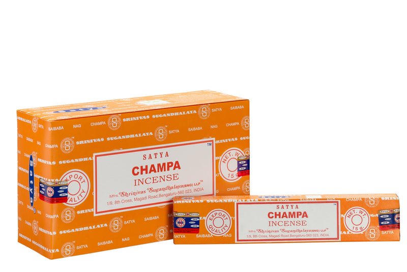 SATYA CHAMPA INCENSE 15 g x 12 - The KO Shop Australia Wholesale Suppliers Distributors of New Age Products & Natural Incense