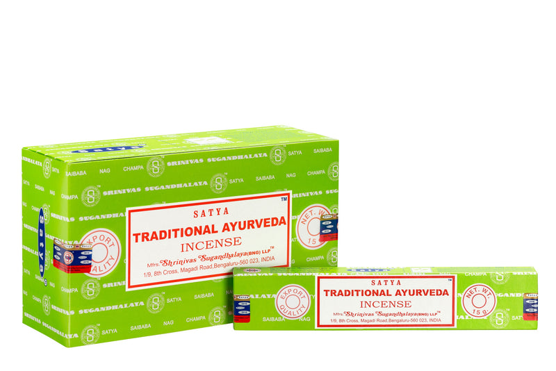SATYA TRADITIONAL AYURVEDA INCENSE 15 G X 12 - The KO Shop Australia Wholesale Suppliers Distributors of New Age Products & Natural Incense