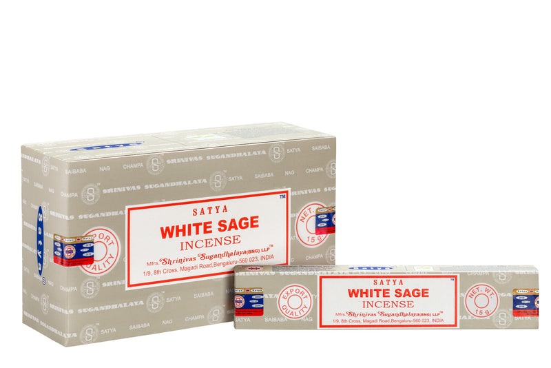SATYA WHITE SAGE INCENSE 15gm x 12 - The KO Shop Australia Wholesale Suppliers Distributors of New Age Products & Natural Incense