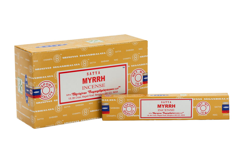 SATYA MYRRH INCENSE 15 g x 12 - The KO Shop Australia Wholesale Suppliers Distributors of New Age Products & Natural Incense