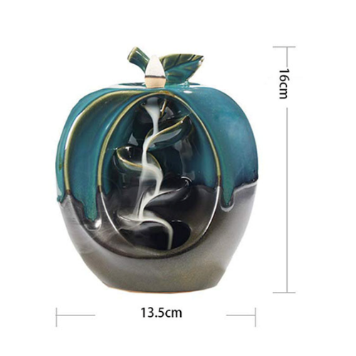 PORCELAIN BACKFLOW BURNER FRUIT  (KO-BB-FRO1-A) - APPLE - The KO Shop Australia Wholesale Suppliers Distributors of New Age Products & Natural Incense
