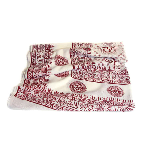 PGS Meditation Yoga Prayer Shawl - Mantra Om - White Large - The KO Shop Australia New Age Productd