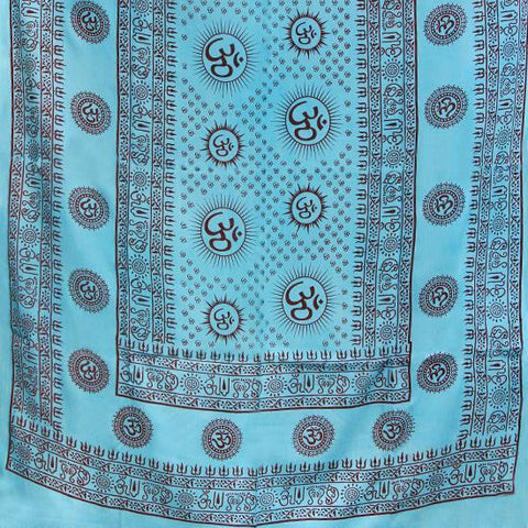PGS Meditation Yoga Prayer Shawl - Mantra Om - Turquoise Large - The KO Shop Australia New Age Productd