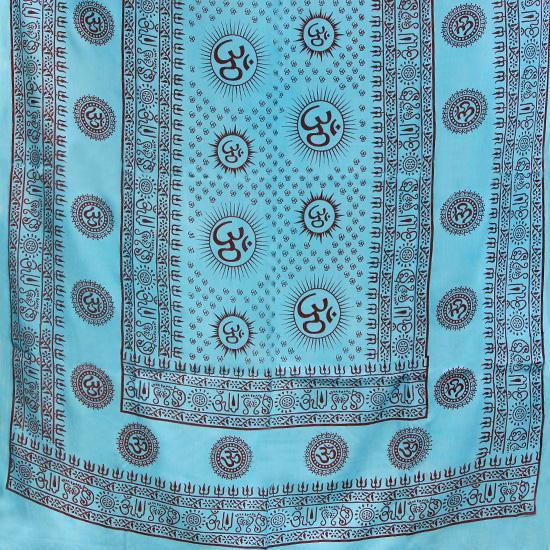PGS Meditation Yoga Prayer Shawl - Mantra Om - Turquoise Large - The KO Shop Australia Wholesale Suppliers Distributors of New Age Products & Natural Incense