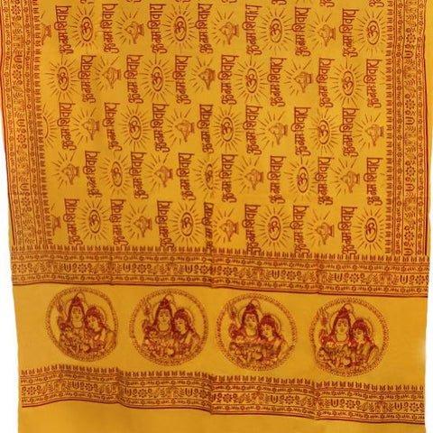 PGS Meditation Yoga Prayer Shawl - Shiva,Parvati & Ganesha - Yellow Large - The KO Shop Australia New Age Productd