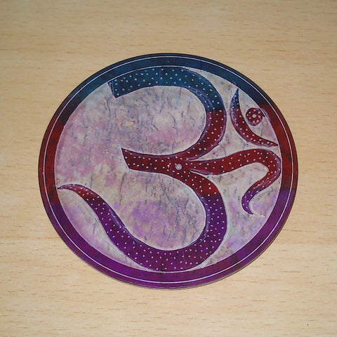 "Incense Holder:IH 4"" Incense Plate OM Carved Multi Colour Soapstone- Pack of 2 - The KO Shop Australia New Age Productd"