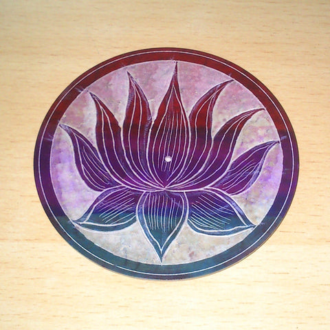"Incense Holder:4"" Incense Plate LOTUS Carved Multi Colour Soapstone- Pack of 2 - The KO Shop Australia New Age Productd"