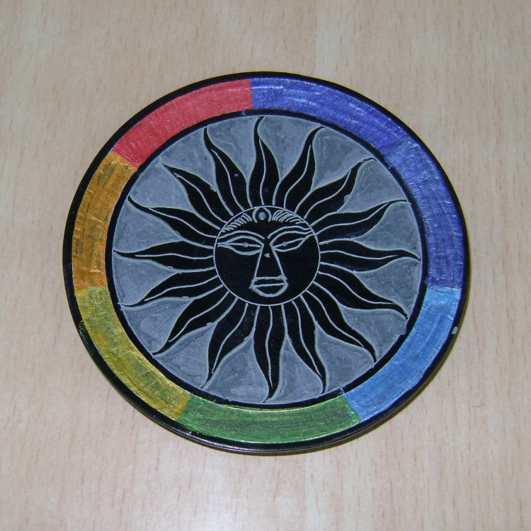 "Incense Holder:IH 4"" Incense Plate SUN Carved with Vibgyor Colour- Pack of 2 - The KO Shop Australia Wholesale Suppliers Distributors of New Age Products & Natural Incense"