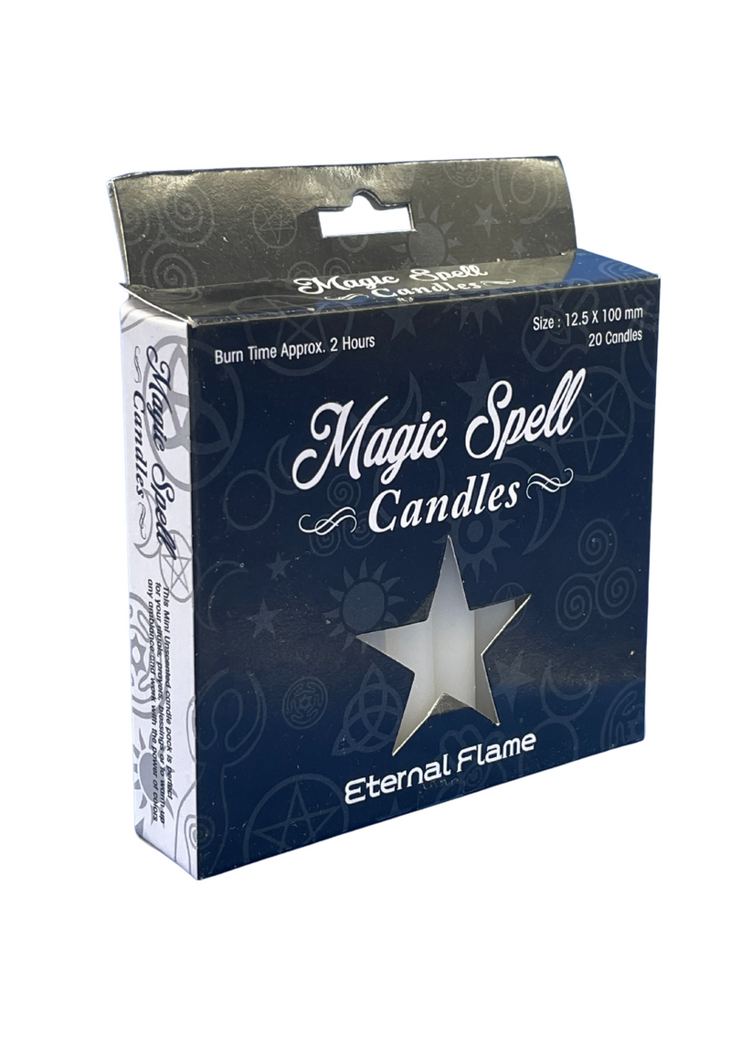 "Eternal Flame Spell Candle 4"" White (Pack of 20) Size 10 Cms"
