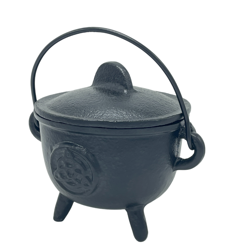 C Iron Cauldron Triquetra With Lid-BR90C