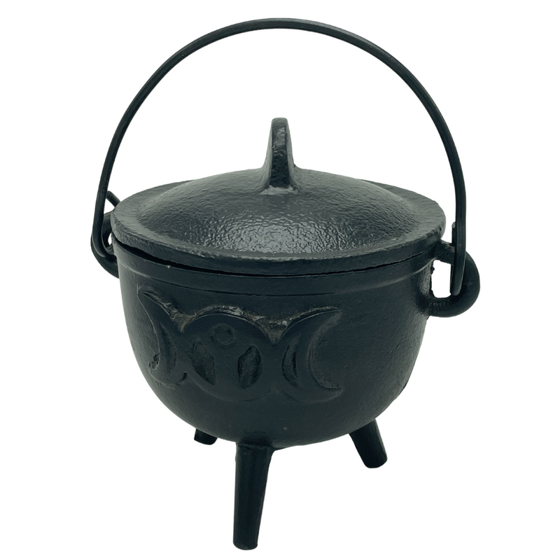 C Iron Cauldron Goddess With Lid-BR90G