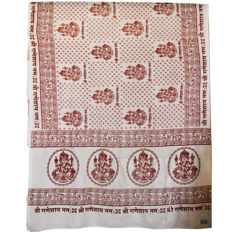 PGS Meditation Yoga Prayer Shawl - Ganesh - White Large - The KO Shop Australia Wholesale Suppliers Distributors of New Age Products & Natural Incense